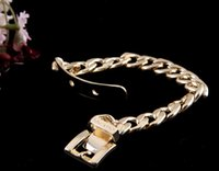 Wholesale Womens White Gold Chain Bracelet - Hot sale hip hop High-quality Men's womens gold silver rose watchband bracelet men for valentine's gift New Brand bracelets jewerly