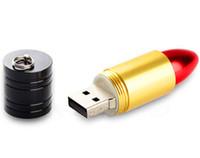 batom usb venda por atacado-Novo Design Bonito Batons Vermelhos Modelo 32 GB 64 GB Genuine Capacidade de Presente de Metal USB 2.0 Memory Stick Flash U Disco 32 GB 64 GB 128 GB 256 GB