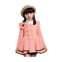 Wholesale girl elegant coats - elegant girl's causal cardigan coat solid flower cotton jacket coat for 3-12years girls children kids outerwear clothes coat hot