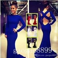 Wholesale Sexy Bandaged Ankle - In Stock royal blue Long Sleeve Backless Evening Dresses Stretchy Spandex Lurelly Monaco Sheath Prom Party women's max Gowns Cheap 2016