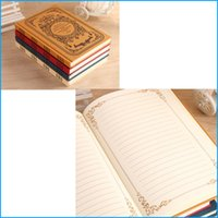 """Wholesale School Notebook A5 - A5 Vintage Retro Style Hard Cover Notebook (4 Color) 8.2"""" x 5.9"""", 100 Sheets, Stitched Binding, Office School Stationery Notepad"""