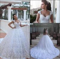 Wholesale Vestido Dubai Bridal - Cathedral Train Luxury Wedding Dresses Ball Gowns Arabic Dubai Vestido De Novia with Beads 3D Floral Flowers Said Mhamad Bridal Gowns