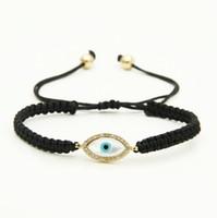 Wholesale Turkish Bracelet Charms Wholesale - New Design Micro Inlay Zircon Turkish Shell Eye Cz Charm Mens Macrame Braided Bracelet Party Gift