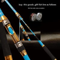 Wholesale Carbon Sea Rod - New fall Foldable Blue Sea rod 2.1-3.6 meters cast fishing rods Carbon Fishing poleTackle Fishing Aluminum alloy rod