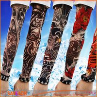 Wholesale Nylon Stretchy Fake Tattoo - Free shipping! New 180 kinds of styles Nylon Stretchy Fake Tattoo Sleeves UV basketball Arm Sleeves Body Art