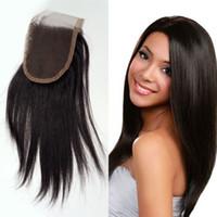 Wholesale indian yaki remy hair - Human Hair Lace Closure Brazilian Light Yaki Hair Closure 4x4 Free Part Closure 8-20 inch Remy Hair Free Shipping FDSHINE