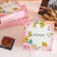 Wholesale Uv Cake - 10PCS 14*14*5.0cm 80g Pink Flowers Hand Made Mooncake Packaging Box Egg-Yolk Puff Cookies Baking Cake Box Cheese Box for Festival Party