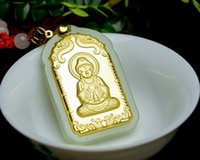 Wholesale hetian pendant resale online - Inset jades k gold pendant with hetian jade jade guanyin Buddha pendant necklace for men and women
