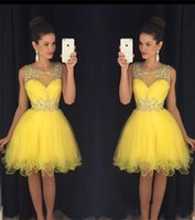 Wholesale Bright Tulle - Short Tulle Homecoming Dresses Bright Yellow 2016 New Sheer Crew Neck with Beads Mini Prom Party Gowns vestido formatura curto BA2861