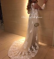 Wholesale Maternity Evening Prom Gowns - Arabic Dubai Long Sleeve Prom Evening Dresses Court Train Applique with Sequin Lace Evening Gowns Illusion robe de soiree vestido de festa