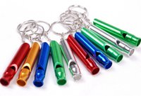 Wholesale train whistle keychain - Aluminum Emergency Survival Whistle Keychain For Camping Hiking Outdoor Sport Tools Multifunctiona; Training whistle SC017