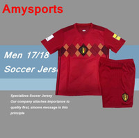 e6d457feb ... Shirt Kits 9 Romelu Lukaku 7 Soccer Short Polyester Belgium Soccer Sets  2017 2018 Home Red LUKAKU HAZARD VERMAELEN Kompany DE BRUYNE European cup  2016 ...
