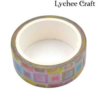 Wholesale Tape Wall Art - Wholesale-Lychee Craft Paper Tape Toy Pattern Washi Tape DIY Scrapbooking Decor Art Wall Paper Sticker Gift Packing Decorative
