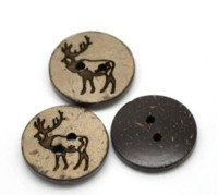 Wholesale Cheap Crafting Buttons - 100PCs Brown Pattern Coconut Shell Buttons 2 Holes Sewing Buttons Craft Scrapbooking 18mm B19956 Buttons Cheap Buttons