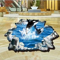 Cracked Sea World Dolphin Afficher Stickers muraux 3D Elephant est sorti de Brick Cracked Woods Stickers Décoration Creative Wallpaper