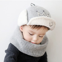 Wholesale Crochet Crowns For Babies - Korean version of the new winter hats for boy and girl infants and young children crown baby plush warm ear cap pots beanies