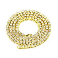 Wholesale manning materials gifts - MCW Hip Hop Style 1 Row Necklace Alloy Material AAA Intensive Rhinestone Crystal Necklace for Men and Women's Jewelry Three Colors