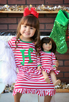 Wholesale American Girl Dolls Clothes - Baby girls stripe dress christmas Elk deer printed party dress children falbala long dresses christmas nightgown girl doll clothes R0146