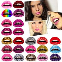 Wholesale Temporary Tattoos For Lips Wholesale - Sexy 3D Art lips Tattoos Sticker Glitter Temporary Lip Accessories Transfer Lip Arts Glitter Funky Party For Women K726