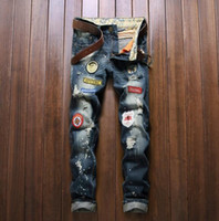 Wholesale Demin Top - TOP Hiphop Cropped Jeans with Extreme ripped Straight Streetwear Biker lebal with embroidery hystric Uk style stretch Demin jeans 28-38