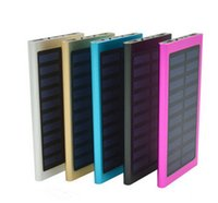 Wholesale High Capacity Usb Charger - New Solar Power Bank 20000mah High Capacity Dual USB Port External Battery Charger With Retail Package