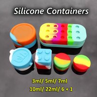 Wholesale Wholesale Plastic Containers Jars - Non-stick Silicone Containers For Wax 3ml 5ml 7ml 10ml 22ml 6+1 Silicone Oil Container Square Clear Silicon Dab Wax Plastic Container jars