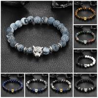 chaînes de tigre achat en gros de-Bracelets de charme en gros de mode femme homme plaquant or chaîne d'argent bracelet squelettes de pierre de lave en cristal tiger eye bijoux bracelet de perles