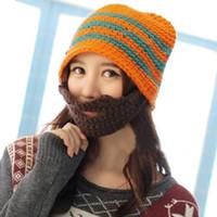 Wholesale Mustache Mask Face Warmer Ski - Unisex Handmade Knitted Beanies Hat Crochet Mustache Full Beard Face Warmer Bicycle Mask Ski Cap Funny Hat Xmas Gift