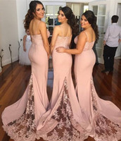 Wholesale long dresses for women wedding - Dusty Pink Spaghetti Bridesmaid Dresses For Wedding 2016 Lace Top Mermaid Sweep Train Formal Party Dresses For Women Custom Made