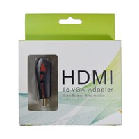 Wholesale usb audio input adapter resale online - 1080P Video HDMI to VGA converter adapter with audio cable USB Cable HDMI input to VGA output For PC TV Free DHL