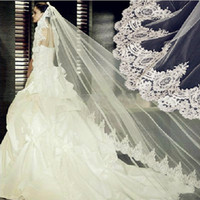 Wholesale Long Cathedral Wedding Veils - Cheap Long Lace Bridal Veils Soft Tulle One Layer Cathedral Length with Lace Applique on the Edge White Ivory for Wedding Dress