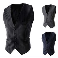 Wholesale Stylish Groom Vests - 2016 Slim Businessman Vests Stylish Wedding Groom Waistcoat V-neck Best Man Groomsmen Business Man Vests Outerwear Coats Striped Waistcoat
