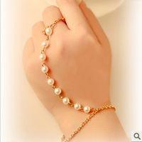 Wholesale Rings Hipsters - Pearl Slave Bracelet Link Bracelet Finger Ring Hipster Chain Bohemian Beads Pearl Beaded Bracelet and Ring Jewlry