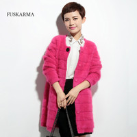 Wholesale knit rabbit fur cardigan - Wholesale- 2016 Winter New Fashion Rabbit Fur Cardigans Sweater Long Solid 100% Cashmere Cardigans Sweater Coat Factory Customize CS052