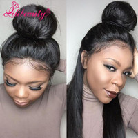 Wholesale Affordable Peruvian Body Wave Hair - Top Quality High Ponytail Full Lace Wigs Silky Straight Virgin Human Hair Lace Front Wig Affordable Malaysian Full Lace Wigs