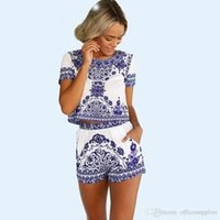 blau und weiß Porzellan Print Sexy Club Kleid Plus Größe Frauen Zweiteiler Outfits China Element Muster Kurzarm Mini Vintage Dress