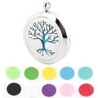 Wholesale Tungsten Lockets - 1pcs 30mm magnet family trees Aromatherapy Essential Oil surgical Stainless Steel Perfume Diffuser Locket Necklace with chain and felt pa