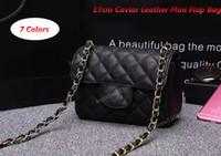 Wholesale Mini Pewter - Genuine Leather Mini Flap Bag 17cm Black Caviar Leather Single Flap Bag Silver Hardware Women Messenger Bag Shoulder Bag Free Shipping