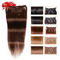 Wholesale Ali Queen - Clips In Human Hair Extension 16''-22'' 7pcs lot 70g Ali Queen Hair Brazilian Hair Straight Clip In Extension