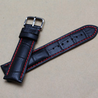 Discount threaded watches 18mm 20mm 22mm 24mm New Black Genuine Leather Watchband Watch Band Strap Bracelet With Red thread