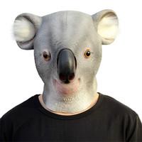 Wholesale Mask Latex Toy - Latex Animal Mask Halloween Masquerade Mask Koala Mask Full Face Halloween Dance Party Costume Wolfhound Masks Theater Toys Creepy Cry Masks