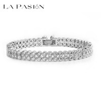 Wholesale Brand Diamond Jewellery - LA PASION brand Luxury 2 Rows Round Cubic Zirconia Diamond Chain Bracelet 18K White Gold Plated Women Jewellery Gift For Best Friend