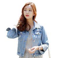 más el tamaño de chaquetas de jean azul al por mayor-Tallas grandes XL Chaquetas de mezclilla Mujeres Otoño Azul Casual Manga larga Ripped Slim Button Pockets Jeans Abrigos Tops
