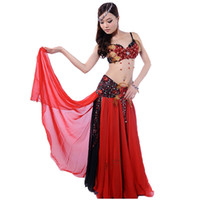 Wholesale Indian Dancing Skirts - Belly Dance Costume Two Pieces Bra&Waist&Skirt Sealing Indian Dress Red Purple Ropa Danza Del Vientre Oriental Dance Costumes