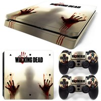 Wholesale walking dead vinyl - Walking Dead Vinyl Decal for PS4 SLIM Skin Stickers Protector For PlayStation 4 SLIM Console & 2 PCS Controllers Skin Stickers
