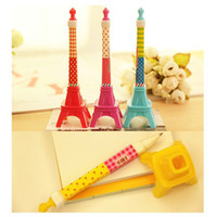Wholesale Eiffel Tower Pens - 8 pcs lot Eiffel Tower Ballpoint Pens Novelty Stationery Ball pen Kawaii Pen for Writting School Office Supplies