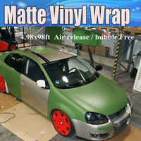 voiture couleur armée achat en gros de-Wrap vert mat militaire de vinyle avec la bulle d'air Autocollants de wrap de voiture vertes militaires vertes de couverture couvrant le film feuille taille 1.52x30m / Roll 4.98x98ft