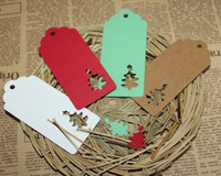 Wholesale christmas tree wholesale prices - 10.5*4.5cm Hollow Tree Scalloped Kraft Paper Card   Blank Tag   Christmas Gift Tag Price Label