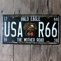 Wholesale Road Eagles - Bald Eagle USA Route 66 Mother Road vintage embossed metal tin signs garage car plate licence number plate painting plaque picture 15x30cm