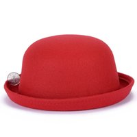Wholesale red hat elegant online - Fashion Parent child Cap Girls Winter Cute Wool Top Hat Womens Ladies Elegant Bowler Derby Small Fedoras Hat Gifts for Family